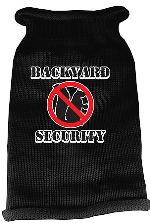 Back Yard Security Screen Print Knit Pet Sweater LG Black
