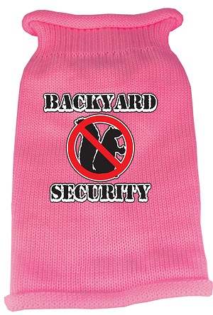Back Yard Security Screen Print Knit Pet Sweater MD Pink