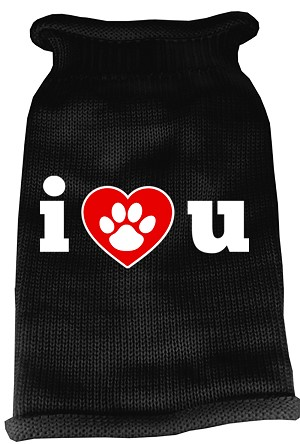 I Love You Screen Print Knit Pet Sweater LG Black
