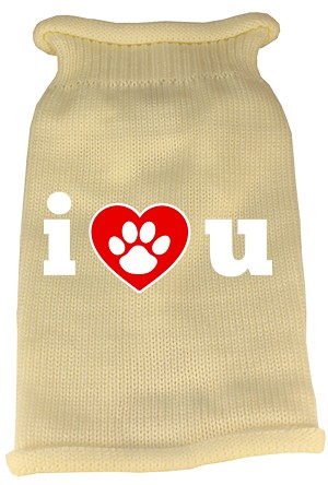 I Love You Screen Print Knit Pet Sweater XS Cream