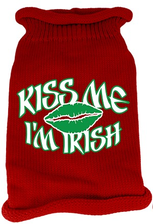 Kiss Me Im Irish Screen Print Knit Pet Sweater SM Red