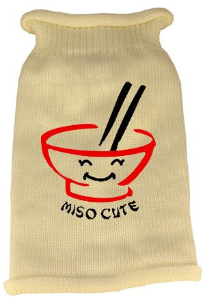 Miso Cute Screen Print Knit Pet Sweater LG Cream