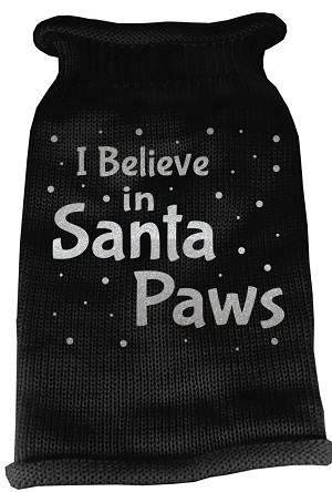 I Believe in Santa Paws Screen Print Knit Pet Sweater LG Black