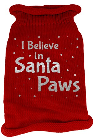I Believe in Santa Paws Screen Print Knit Pet Sweater MD Red
