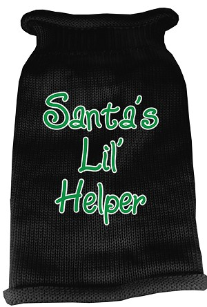 Santas Lil Helper Screen Print Knit Pet Sweater MD Black