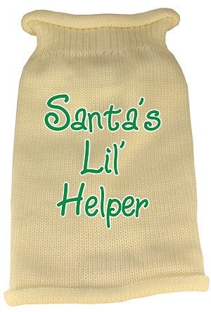 Santas Lil Helper Screen Print Knit Pet Sweater XL Cream