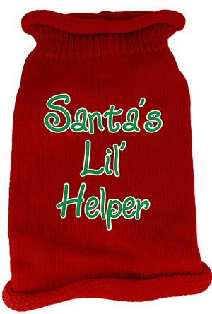 Santas Lil Helper Screen Print Knit Pet Sweater MD Red