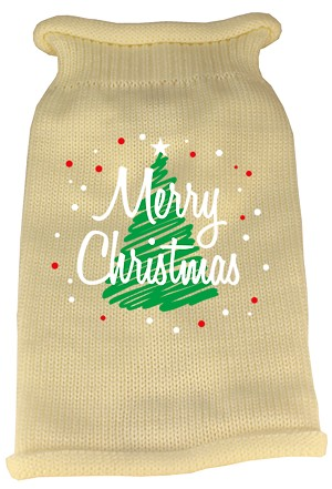 Scribbled Merry Christmas Screen Print Knit Pet Sweater MD Cream