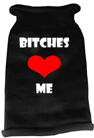 Bitches Love Me Screen Print Knit Pet Sweater LG Black
