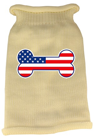 Bone Flag USA Screen Print Knit Pet Sweater SM Cream