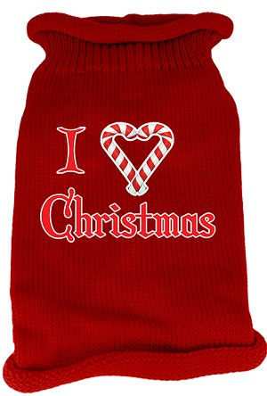 I Heart Christmas Screen Print Knit Pet Sweater XS Red