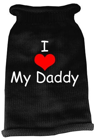 I Heart Daddy Screen Print Knit Pet Sweater LG Black
