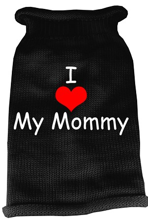 I Heart Mommy Screen Print Knit Pet Sweater XS Black