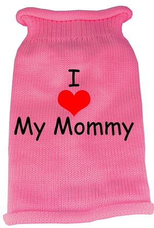 I Heart Mommy Screen Print Knit Pet Sweater SM Pink