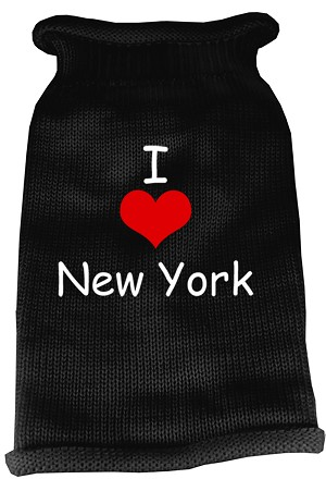 I Love New York Screen Print Knit Pet Sweater LG Black