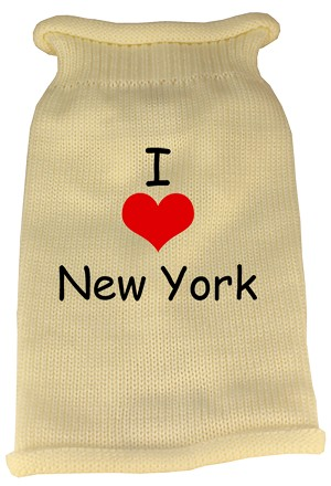 I Love New York Screen Print Knit Pet Sweater XL Cream