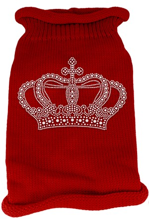 Crown Rhinestone Knit Pet Sweater SM Red