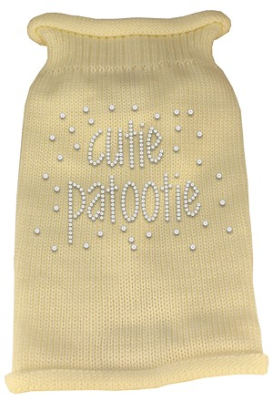 Cutie Patootie Rhinestone Knit Pet Sweater XL Cream