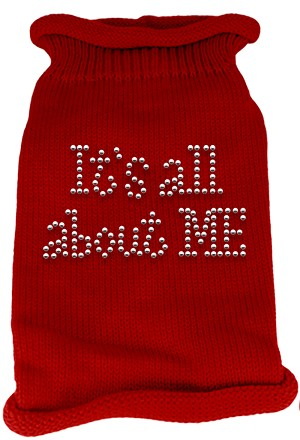 It's All About Me Rhinestone Knit Pet Sweater MD Red