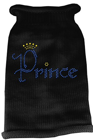 Prince Rhinestone Knit Pet Sweater LG Black