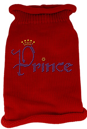 Prince Rhinestone Knit Pet Sweater XS Red