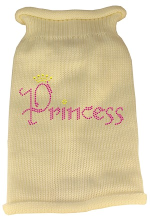Princess Rhinestone Knit Pet Sweater XL Cream