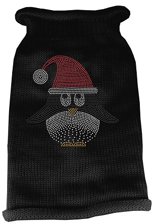 Santa Penguin Rhinestone Knit Pet Sweater MD Black