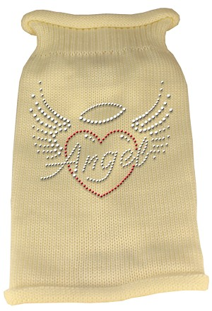 Angel Heart Rhinestone Knit Pet Sweater XS Cream