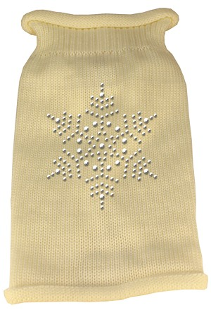 Snowflake Rhinestone Knit Pet Sweater LG Cream