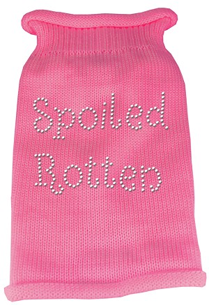 Spoiled Rotten Rhinestone Knit Pet Sweater MD Pink