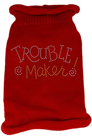 Trouble Maker Rhinestone Knit Pet Sweater SM Red