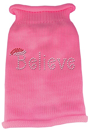Believe Rhinestone Knit Pet Sweater XXL Pink