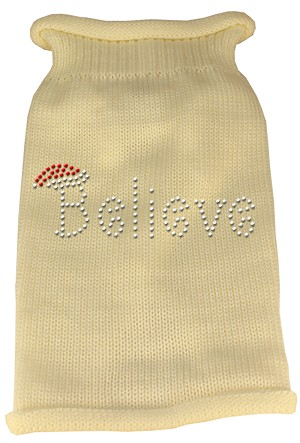 Believe Rhinestone Knit Pet Sweater SM Cream
