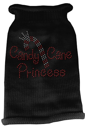 Candy Cane Princess Knit Pet Sweater LG Black