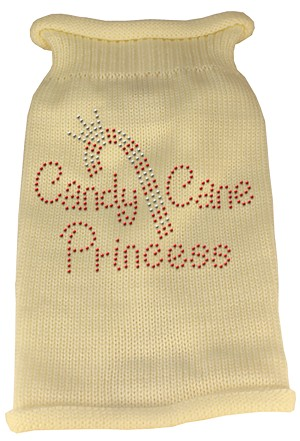 Candy Cane Princess Knit Pet Sweater XL Cream
