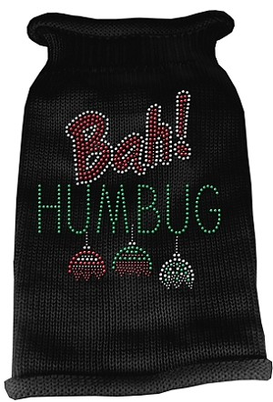 Bah Humbug Rhinestone Knit Pet Sweater XS Black
