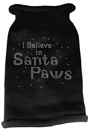 I Believe in Santa Paws Rhinestone Knit Pet Sweater XS Black