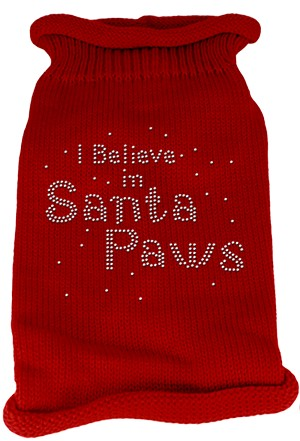I Believe in Santa Paws Rhinestone Knit Pet Sweater XS Red
