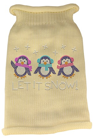 Let It Snow Penguins Rhinestone Knit Pet Sweater MD Cream