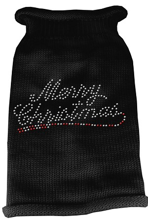 Merry Christmas Rhinestone Knit Pet Sweater XL Black