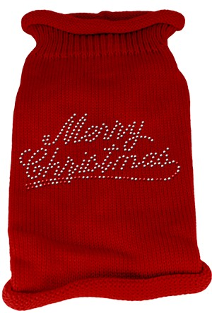 Merry Christmas Rhinestone Knit Pet Sweater MD Red