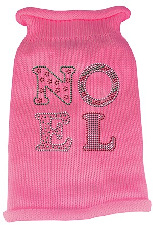 Noel Rhinestone Knit Pet Sweater XL Pink