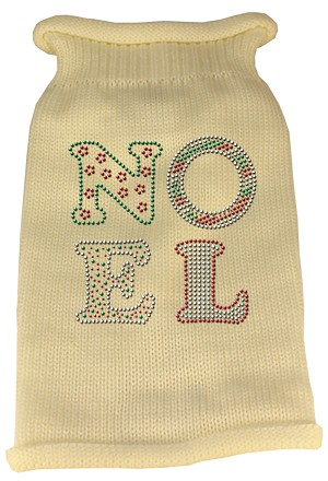 Noel Rhinestone Knit Pet Sweater MD Cream