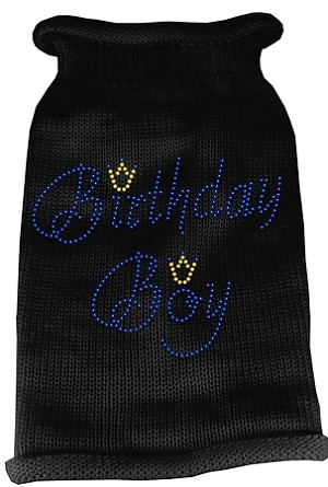 Birthday Boy Rhinestone Knit Pet Sweater XL Black