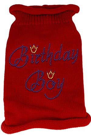 Birthday Boy Rhinestone Knit Pet Sweater SM Red