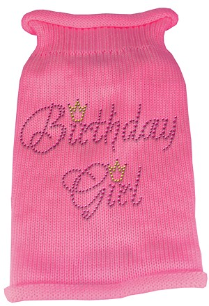 Birthday Girl Rhinestone Knit Pet Sweater LG Pink