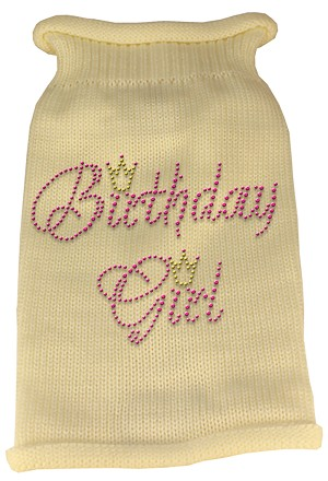 Birthday Girl Rhinestone Knit Pet Sweater XS Cream