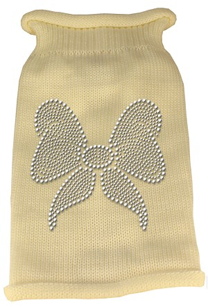 Bow Rhinestone Knit Pet Sweater XL Cream