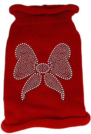 Bow Rhinestone Knit Pet Sweater SM Red