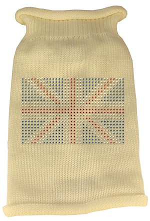 British Flag Rhinestone Knit Pet Sweater XS Cream